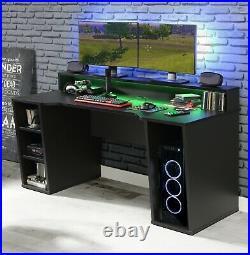 Power Gaming Desk Computer Office Workstation Shelving Desktop Storage LED Light