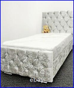 Princess Bed Frame Crushed Velvet 3FT Single Bed + Lift Up Under Bed Storage NEW
