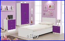 Purple Gloss & Ash White Bedroom Units & Sets + 3ft single ...