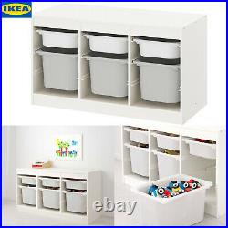 QIKEA Children's TROFAST Storage Combination With White & Grey Boxes 99x44x56cm