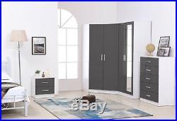 REFLECT 2 Door Corner 2 Door Mirror Chest Bedside Grey Gloss & Matt White 4 Set
