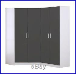 REFLECT 2 Door Corner + 2 Door Wardrobe in Grey Gloss & Matt White 4 Door Set