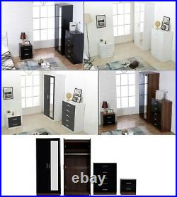 REFLECT 3 Pc Bedroom Mirrored Set Soft Close 2 Door Wardrobe + Chest + Bedside
