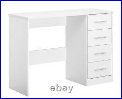 REFLECT 4 Drawer Dressing Table / Desk High Gloss White & Matt White Bedroom