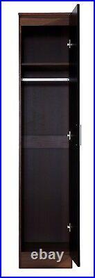 REFLECT Bedroom Storage Slim High Gloss 1 Door Soft Close Wardrobe Black Walnut
