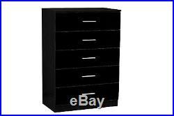 REFLECT Gloss Black / Black Oak 2x2 Door 2x5 Piece Bedroom Furniture Mirror Set