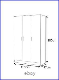 REFLECT Gloss Black / Black Oak 3 Door 3 Piece Bedroom Furniture Plain Set