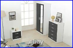 REFLECT Gloss Grey / Matt White 3 Piece Bedroom Mirrored Set Soft Close Doors