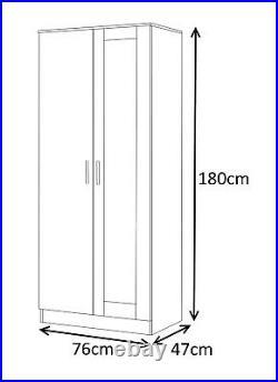 REFLECT High Gloss 2 Door Mirror Soft Close Wardrobe Bedroom White / Matt White