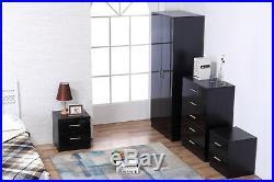 REFLECT High Gloss Black 4 Piece Bedroom Furniture Set Wardrobe Chest 2x Bedside