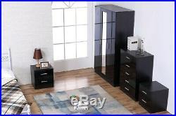 REFLECT High Gloss Black / Black 4 Piece Bedroom Furniture Mirror Set 3 Door