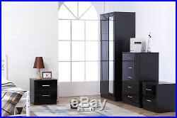 REFLECT High Gloss Black / Black 4 Piece Bedroom Furniture Mirror Set Soft Close