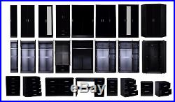 REFLECT High Gloss Black / Black Oak Bedroom Furniture Wardrobe Chest Bedside