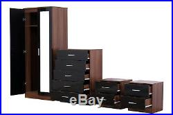 REFLECT High Gloss Black / Walnut 4 Piece Bedroom Furniture Mirror Soft Close