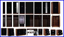 REFLECT High Gloss Black & Walnut Bedroom Furniture Wardrobe Chest Bedside