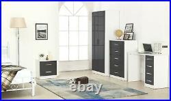 REFLECT High Gloss Grey / Matt White 4 Piece Bedroom Furniture Plain Set 2 Door