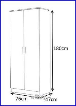 REFLECT High Gloss Grey / White 3 Piece Bedroom Furniture Plain Set 2 Door