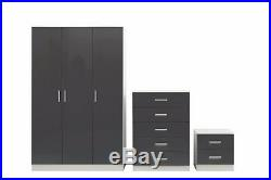 REFLECT High Gloss Grey / White 3 Piece Bedroom Furniture Plain Set 3 Door