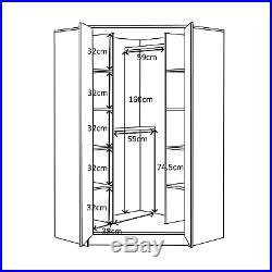 REFLECT High Gloss Soft Close Large 2 Door Corner Wardrobe Bedroom Furniture