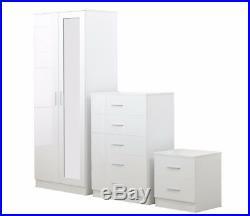 REFLECT High Gloss White / White 3 Piece Bedroom Furniture Mirror Set 2 Door