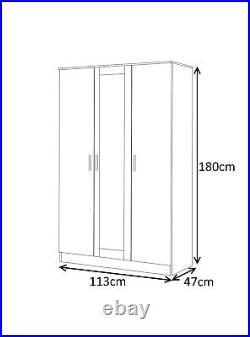 REFLECT Mirror Gloss White White 4 Piece Bedroom 3 Door Wardrobe Chest Bedside