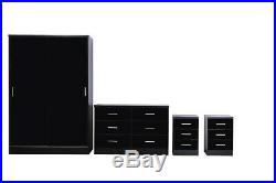 REFLECT PLUS High Gloss Black / Black Oak Sliding 4 Piece Bedroom Furniture Set
