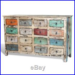 Reclaimed Home Furniture Vintage Wood Storage Cabinet 16 Drawers Multi White