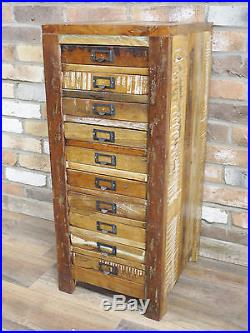 Reclaimed Wood Tall Boy Rustic Filing Cabinet 10 Drawer Chest Storage Unit New