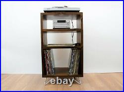 Record Player Tower Stand Vinyl LP Storage Cabinet Mid Century Industrial