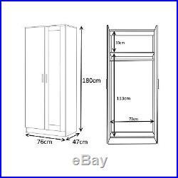 Reflect 2 Pc MIRRORED High Gloss Furniture Set 2 Door Wardrobe + Corner 2 Door