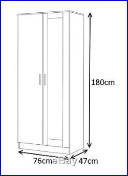 Reflect 2 Pc MIRRORED High Gloss Furniture Set 4 Door = Corner + 2 Door Wardrobe