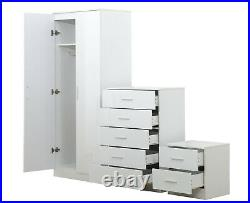 Reflect 3 Piece Set 2 Door Wardrobe Chest of Drawer Bedside Table Gloss White