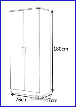 Reflect High Gloss 2 Door Soft Close Plain or Mirrored Wardrobe in 5 Colours