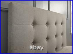 Regal Grey Fabric Buttoned Headboard End Lift Ottoman Storage 3ft Single Bed