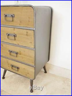Retro Cabinet 4 Drawer Industrial Style Vintage Table Bedside Storage Organiser