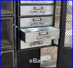 Retro Vintage Industrial Black Cabinet Drawers Unit Storage Sideboard Home Decor
