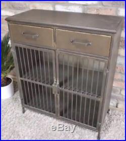 Retro Vintage Industrial Grey Metal Cabinet Drawers Storage Sideboard Cupboard