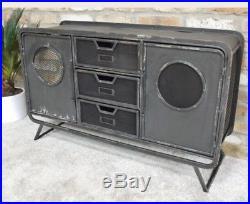 Retro Vintage Industrial Metal Long Cabinet Drawers Storage Sideboard Cupboard