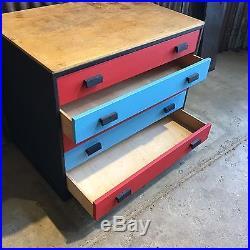 Retro Vintage Wooden Old School Art Drawers Craft Storage Pop