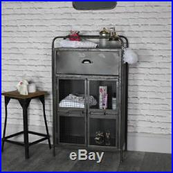 Retro industrial mesh fronted metal storage cabinet vintage modern furniture