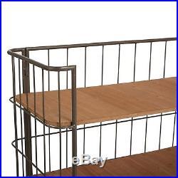 Rustic Industrial Metal Trolley 3-Tier Bookshelf Shelving Storage Loft Office