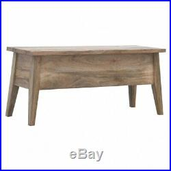 Rustic Scandinavian Nordic Style Solid Wood Lift Up Box Lid Storage Bench Seat