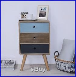 Set Of 2 Bedside Sidetable 3 Drawers Storage Unit Bedroom Furniture Retro Style