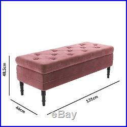 Safina Ottoman Storage Bench in Blush Pink Velvet with Button Detail SAF051