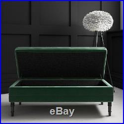 Safina Ottoman Storage Bench In Bottle Green Velvet With Button Detail Saf050 Children S Bedroom Storage