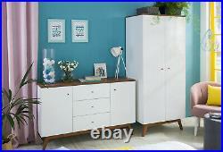 Scandi White/Walnut Finish 2 Door Double Wardrobe Storage Unit Wooden Legs Heda