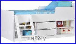 Seconique Felix Low Sleeper Bed with Storage, Drawers & Ladder Oak Grey White