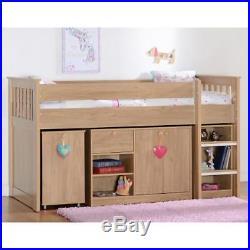 Seconique Merlin Oak Effect Sturdy Mid Sleeper Kids Bed Storage + Desk