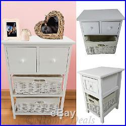 shabby chic basket drawer cabinet wicker beside table storage unit white wooden: white storage unit wicker