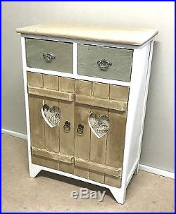 Shabby Chic Cupboard Rustic Wooden Storage Unit White ...